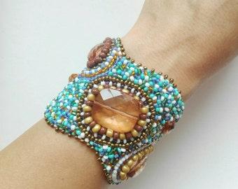 Beach bracelet, maritime jewelry, resort jewelry, resort, shell bracelet, beach bracelet, gift for her, turquoise bead embroidered bracelet
