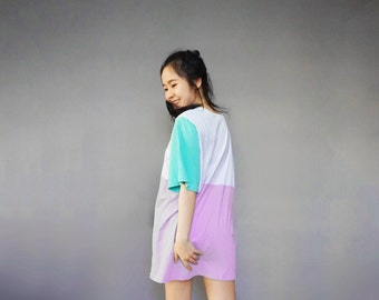 Custom colors oversized color block T shirt mini dress --- Custom size ---