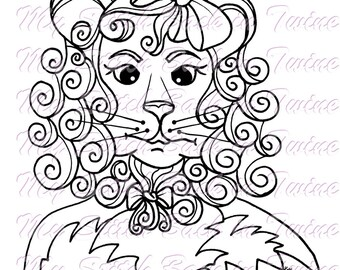 Digital stamp colouring image - OZ Courageous Lion. jpeg / png