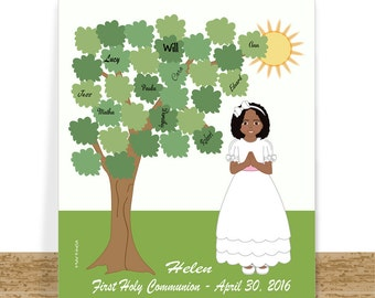 Communion Guest Book Alternative - Sign In Tree - Girl Custom Cartoon Portrait - Digital Printable  First Holy Communion Gift