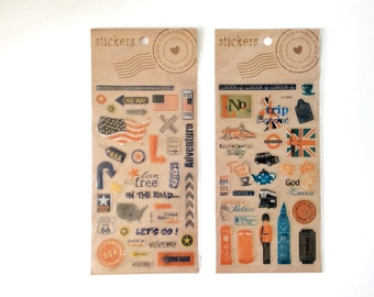 SALE 3D Stickers • Travel Stickers • London / America Stickers • Sticker set • Clear stickers • For your planner, scrapbook, agenda, card