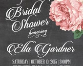 Vintage Floral Bridal Shower Invite- 5x7 Invite in Mint, Cream, Ash Gray or Chalkboard Backgrounds