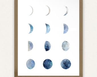 Moon Phases - (8x10) Blue - Printable Art
