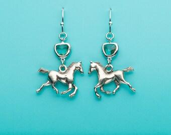 Horse Earrings, Aquamarine Horse Earrings, Running Horse Earrings, Animal Earrings, Equestrian, Equine, Charm Earrings, Dangle Earrings, 187