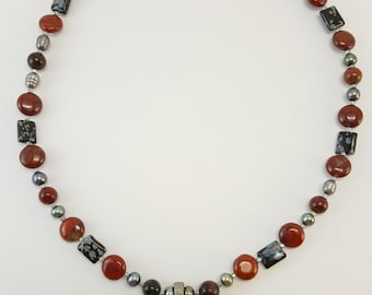 "Jasper, Pearl and Snowflake Obsidian Necklace  18""- Sterling Silver Clasp & Semi Precious Gem Stones J26"