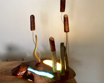 "Table Lamp - Hawaiian Koa Stained Glass ""Marsh"" with Cattails"