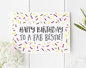 Bestie Birthday Card / Happy Birthday Best Friend / Bestfriend Birthday Card / Bestie Birthday Card / Friendship Card / Birthday Card