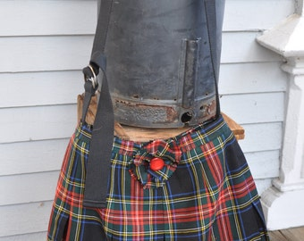 Laird wool tartan pleated bag with black canvas adjustable strap