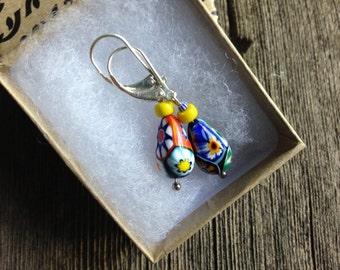 Millefiori Earrings - Sterling Silver - Lever back - yellow