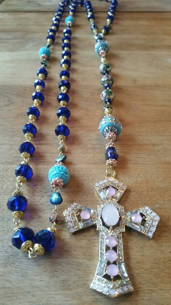 HEY MARY Peace Beads Royal Blue Bride by T.R.Jackson. 6 ft of crystal #christ mala body rosary Custom order  also in white, baby blue lime