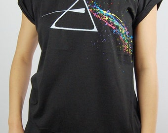 Pink Floyd The Dark Side of the Moon T-shirts for Women , Roll Up Sleeves , Girly Baggy Cut , Tops , Lady's