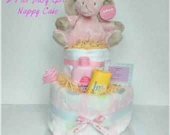 Nappy Cake 2 Tier Baby Shower Baby Girl Gift New Mum Maternity Leave Gift