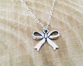 Silver Bow Necklace, Bow Pendant Necklace, Silver Necklace, Pendant Necklace, Knot Necklace