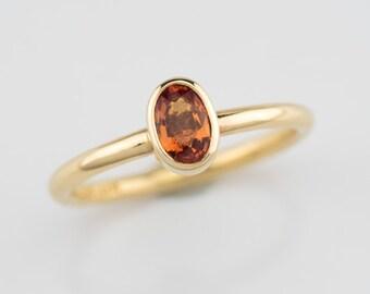 Orange sapphire stack ring, gold sapphire ring, orange stone ring, orange gemstone ring, padparasha sapphire, lotus orange color stone ring