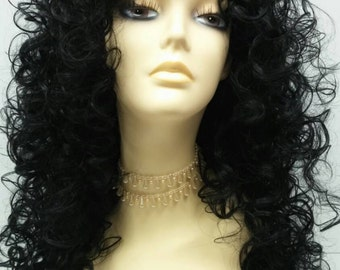 Long 27 inch Curly Black Wig. Cosplay Wig. [03-17-Diana-1]