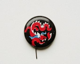 Dragon Breathing Fire Gold Fantasy Pinback Button Pin Badge