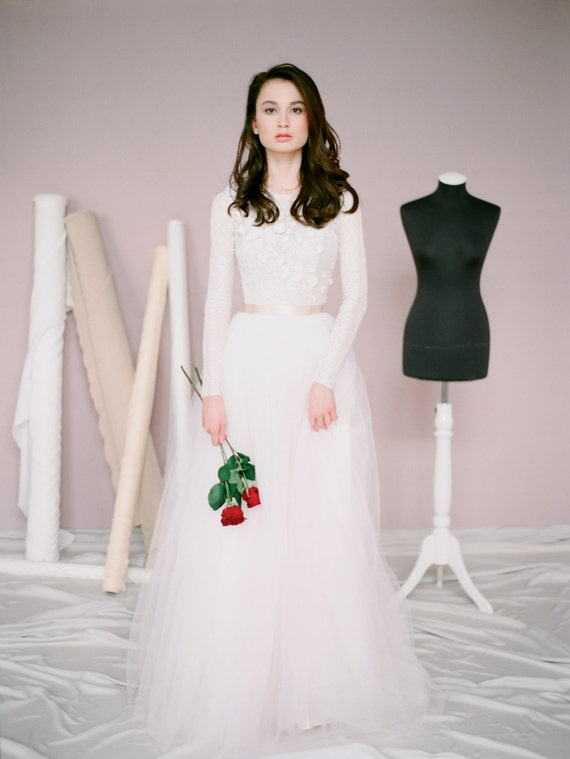 Boho long sleeve wedding dress amy simple tulle like this item junglespirit Choice Image