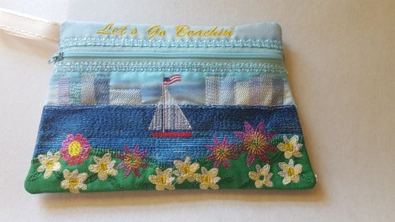 Zipper pouch summer ith embroidey design machine embroidery