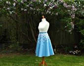 Midi Circle Skirt Blue Skirt High Waisted Skirt Floral Skirt Embroidered Skirt Full Skirt Cotton Skirt 50s Style Skirt Womens Skirt.