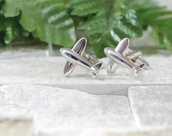 Airplane cufflinks. Cufflinks. Groomsmen cufflinks. Groom cufflinks. Silver cufflinks. Outdoorsmen gift. Wedding Cufflinks. Cuff links.
