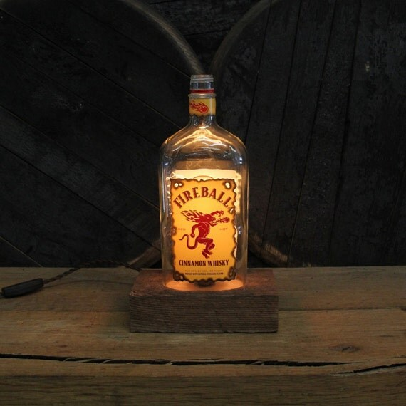 Fireball Whiskey Bottle Lamp - Features Reclaimed Wood Base, Edison Bulb, Twisted Cloth Wire, In line Switch, And Plug, Upcycled Light