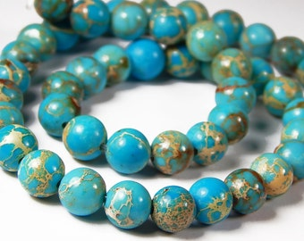 7-1/2 Inch Strand - 8mm Round Blue Sea Sediment Japser Beads - Gemstone Beads - Jewelry Supplies