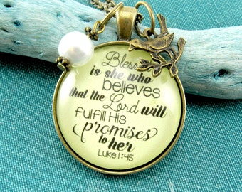 Blessed is She Who Believes Blessed Necklace Gift for Women Scripture Typography Blessed Mother or Blessed Mama Christian Necklace