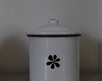 """Decorative Canisters Set of 3, White Enameled Storage Containers with Lids , Vintage Style 4"""" Enameled Storage Containers"""