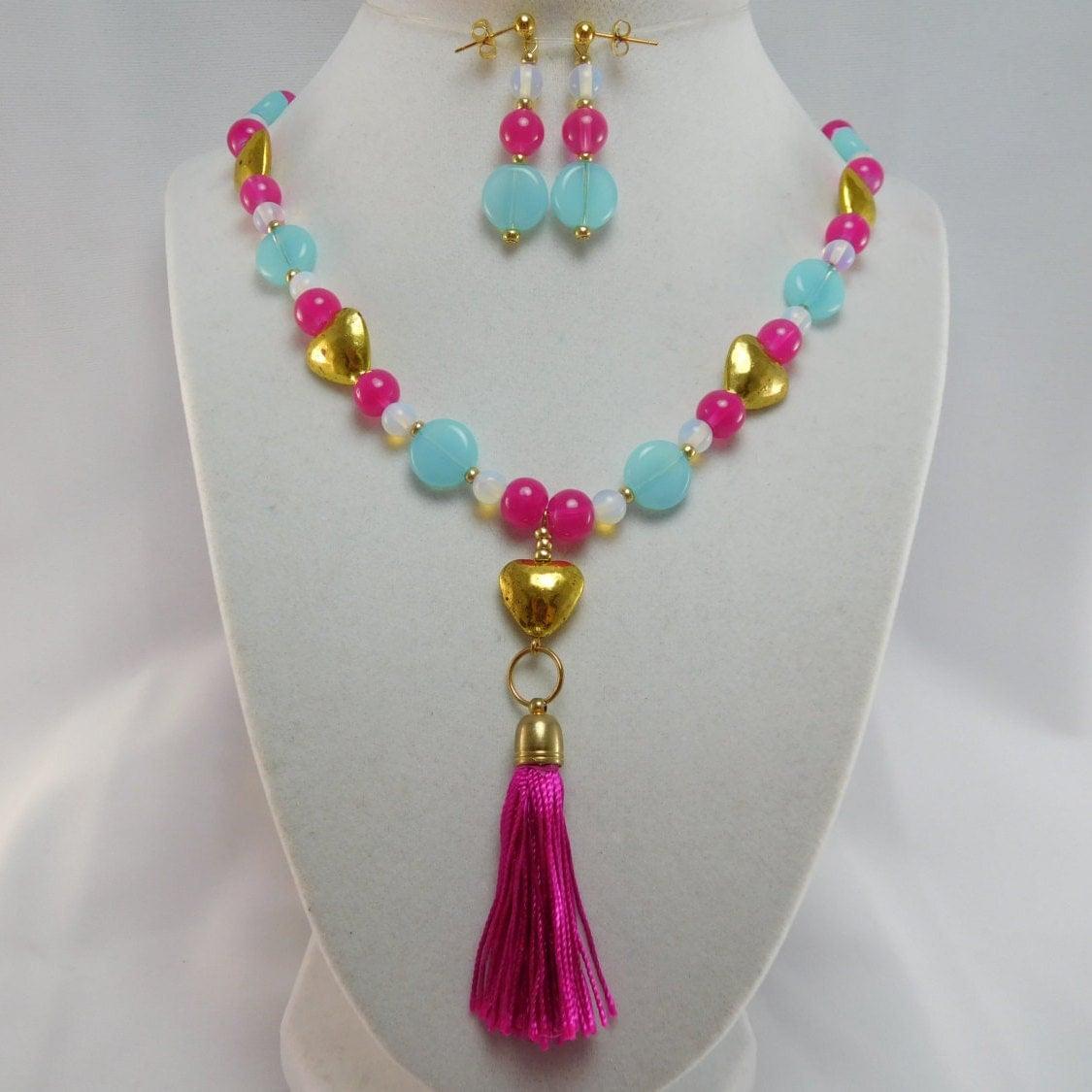 Make Your Own Tassel Necklace: Hot Pink Tassel & Moonstone 30 Necklace Set-Hot
