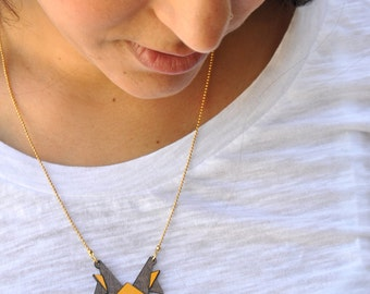 Origami jewelry, Small bird necklace, wooden pendant, Gold chain, Everyday jewelry, statement necklace, Small everyday origami necklace.