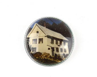 Glass Paperweight ~ NH Farmhouse ~ Round Domed Glass ~ Farmhouse Decor