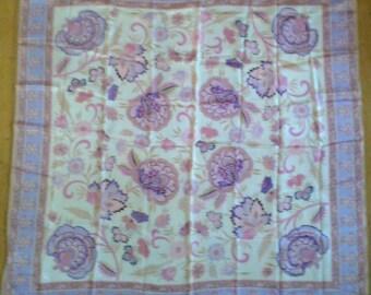 Vintage Oscar de la Renta Purple Pink Art Nouveau Style Floral Print Silk Scarf