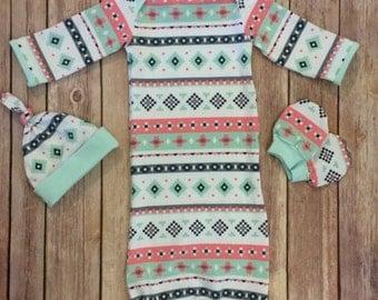 Baby gown, knot hat, and no scratch mittens, newborn set, pastel Aztec