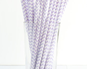 25 Lavender and White Chevron Paper Straws- The perfect touch for girl baby showers, bridal showers, and lavender-themed birthday parties