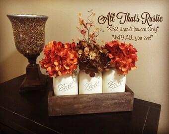 Fall Home Decor, Fall Decor, Fall Table Centerpiece, Fall Decoration, Rustic Home Decor, Painted Mason Jars, Mason Jar Decor, Fall Mason Jar