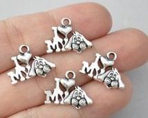 12 Pcs I Love My Dog Charms Pendants Antique Silver Tone 18x13mm - YD0164