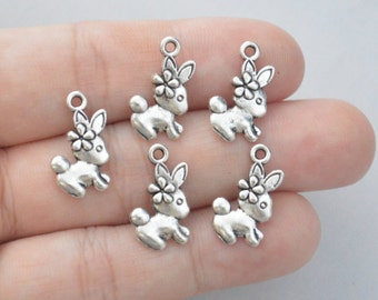10 Pcs Rabbit Charm Bunny Charm Antique Silver Tone 2 Sided 18x10mm - YD0043