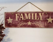 "Wooden ""FAMILY"" sign with Stars, Burgundy & Buttermilk, Distressed, Rustic Country, Primitive, Vintage Farmhouse Antique Decor"