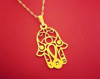 Hamsah Necklace Gold Plated Large Hamsa Hamsa Charms Necklace Hamsa Hand Necklace Hand of Fatima Hamsahand Necklace Evil Eye Jewelry chamsa