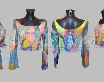 HAND PAINTED TOP womens clothes womens clothing boho chic bohemian kimono sleeve long womens clothes for women boho top bohemian clothing