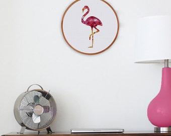 Geometric Flamingo cross stitch pattern| Modern pink flamingo bird counted cross stitch chart| Instant download pdf| DIY house decor gift