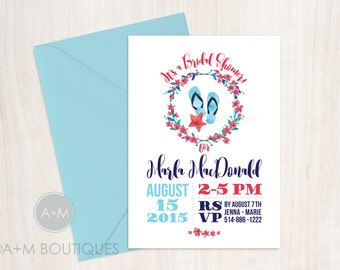 Printable Bridal Shower Invitation, Bride, Wedding Shower, Watercolor Watercolour, floral, CUSTOMIZED, Am Wedding Boutique: Flip Flops