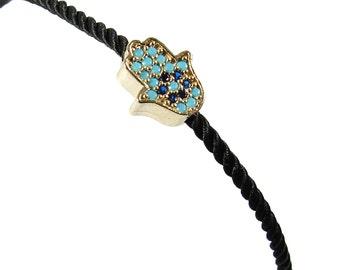 Hamsa Hand Bracelet, Black String Hamsa Bracelet, Fatima Hand Bracelet