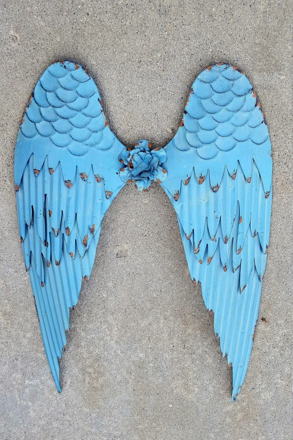 Rustic Angel Wings Wall Decor : Items similar to metal angel wings wall decor cross