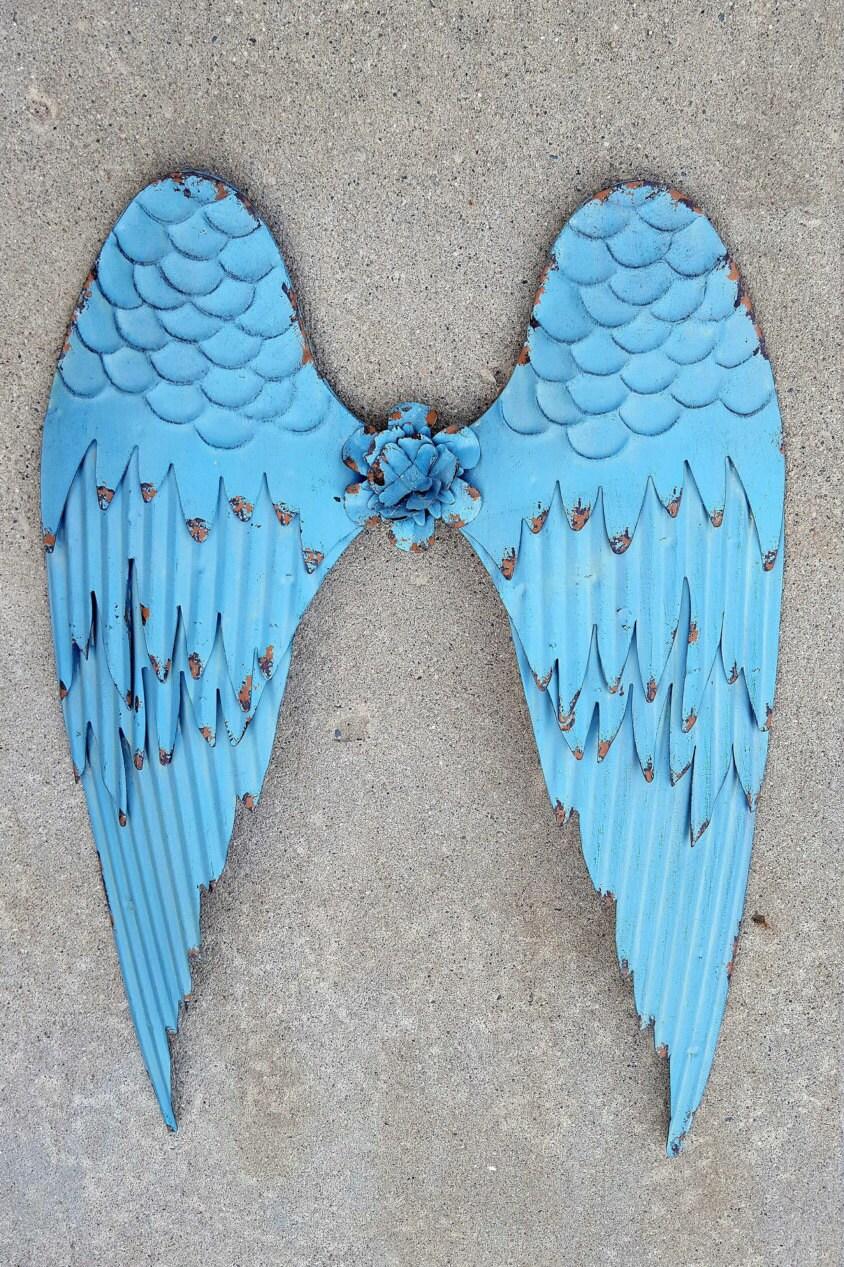 Metal Wall Art Angel Wings : Metal angel wings wall decor cross rustic by