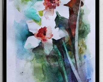 Original Watercolor Painting, Narcissus art, Spring Flowers, Home Decor Gift for her Fresh nature, Art OOAK
