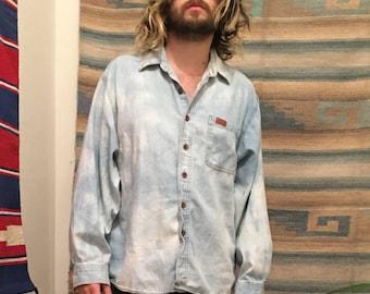 Hand bleach dyed oversized denim shirt