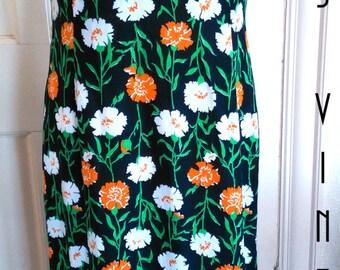 """Sale!! Plus Size UK 18 Vintage 1970s Maxi Column Dress Floral Marigolds Boho EU 44 US 14 Bust 44"""" 112cm"""