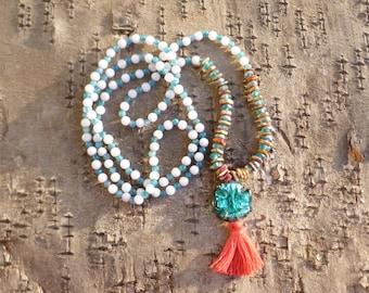 Alisha Necklace. Long tassel necklace. Tibetan Mala necklace. Beaded tassel necklace. Boho Hippie.