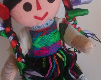 Mexican Rag Doll, Indigenous Folk doll, day of the dead doll, mexican, ethnic doll, Mexican Rebozo Aztec fabric, Nursery doll, Frida Kahlo